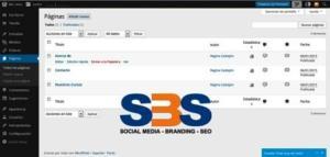 Páginas en la plataforma de WordPress