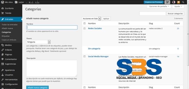 Las categorías se utilizan para definir secciones de tu sitio