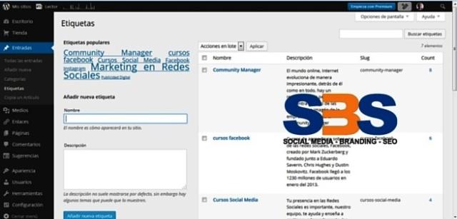 uso de etiquetas en WordPress