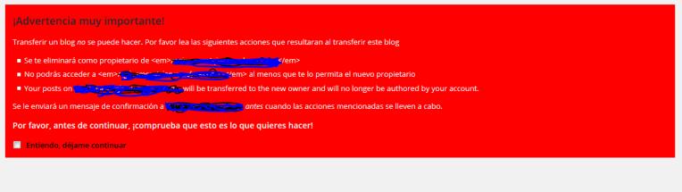 aviso de transfer